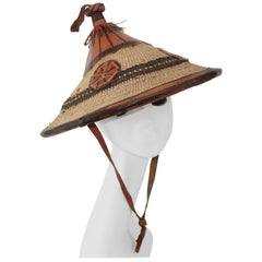 Vintage African Straw & Leather Pagoda Style Hat
