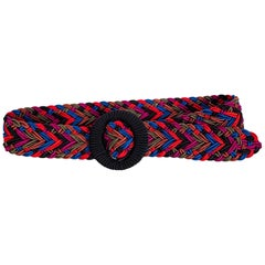 1980s Yves Saint Laurent Multicolored Passementerie Braided Belt YSL