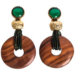 Yves Saint Laurent Emerald Green and Gold Wood Disc Accent Earrings, 1980s