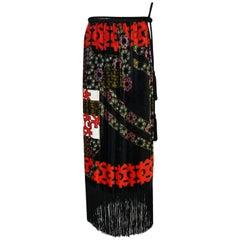 c.1971 Lanvin Demi-Couture Fringe Printed Panne Velvet Skirt