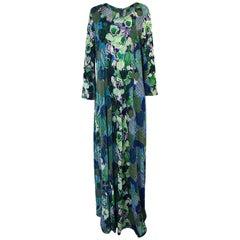 1960s La Mendola Light Knit Wool Easy Caftan Printed Dress