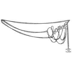Chanel 2006 Silvertone Chain Script Belt