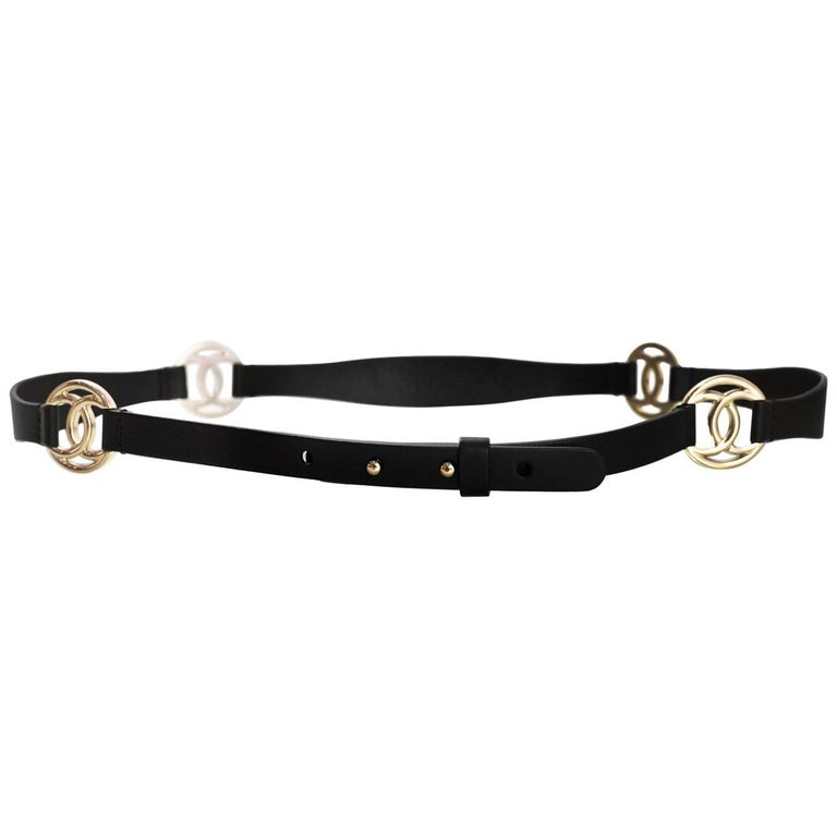 Chanel Black Leather & Pale Goldtone CC Belt Sz 85