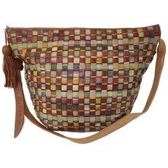 1980's Sharif Raw Silk & Leather Woven Hobo Handbag