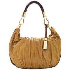 Michael Kors Tan Ruched Leather Skorpios Hobo Bag