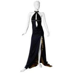 Versace Bondage Dress Gown with Plunging Neckline & Thigh High Slit   New!