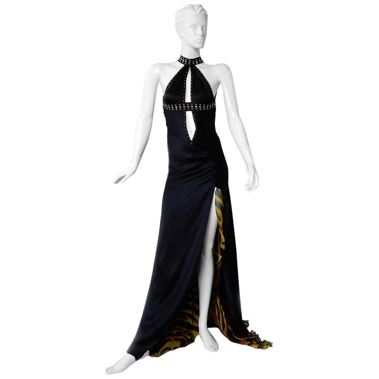 Versace Bondage Dress Gown with Plunging Neckline & Thigh High Slit   New! For Sale