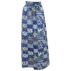C.1970 Blue & White Batik Inspired Cotton Maxi Skirt