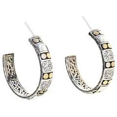 John Hardy Sterling, Diamond & 18K Yellow Gold Dot Hoop Pierced Earrings