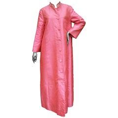 1960s Opulent Pink Silk Shantung Opera Coat
