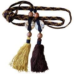 1990s Yves Saint Laurent Brown Yellow Braided Tassel Belt w/ Wood & Agate Beads