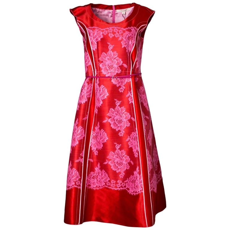 Marc Jacobs Red & Pink Lace Sleeveless Dress Sz 4 NWT rt. $2,500