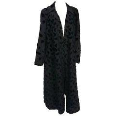 1920s Black Silk Coat with Flocked Velvet