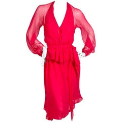 Halston Red Chiffon Skirt and Shirt Set circa 1970s