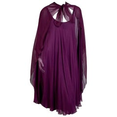 Halston Plum Silk Goddess Dress with Sheer Cape circa 1970s