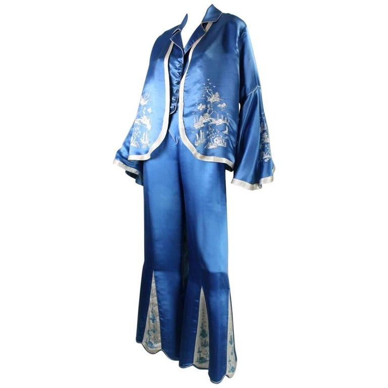 1930's Chinese Silk Lounge Ensemble with Hand-Embroidery