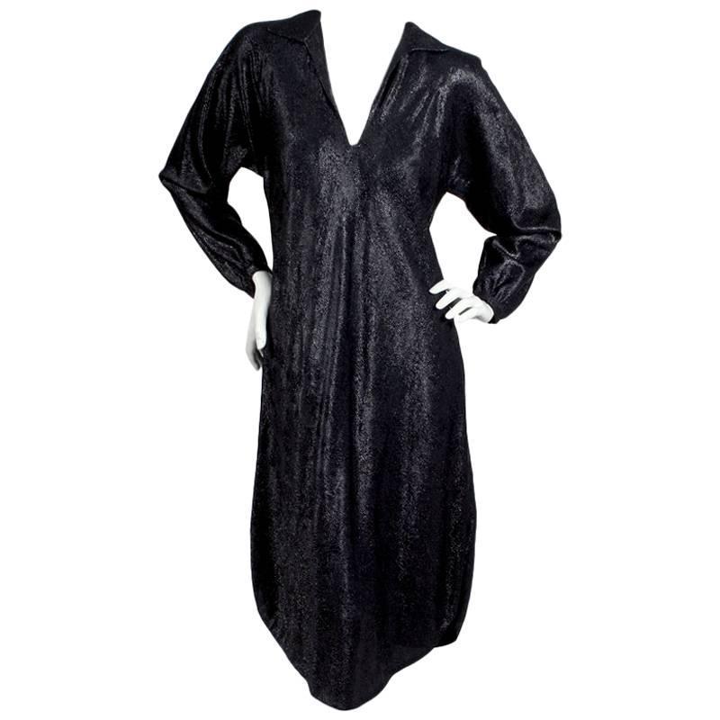 Halston Metallic Black Lightweight Dress circa 1970s