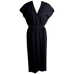 Halston Black Linen Dress with Cap Sleeves circa 1970s