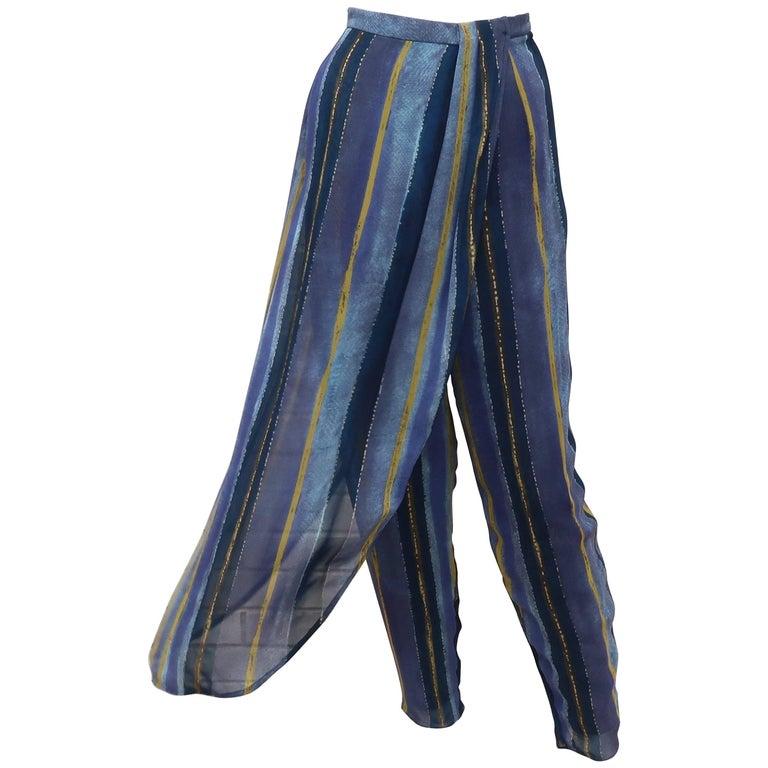 1990's Giorgio Armani Sheer Silk Harem Sarong Style Pants For Sale