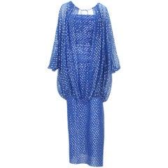 Christian Dior Paris F/W 1976 Numbered Polka Dot Blue Sheer Dress Set