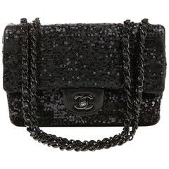 Chanel Black Sequin Single Flap Medium Bag
