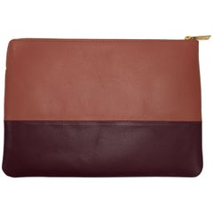Celine Contrasting Leather Pouch with Gold Hardware