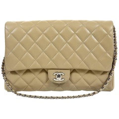 Chanel Etoupe Caviar Classic Clutch Shoulder Bag