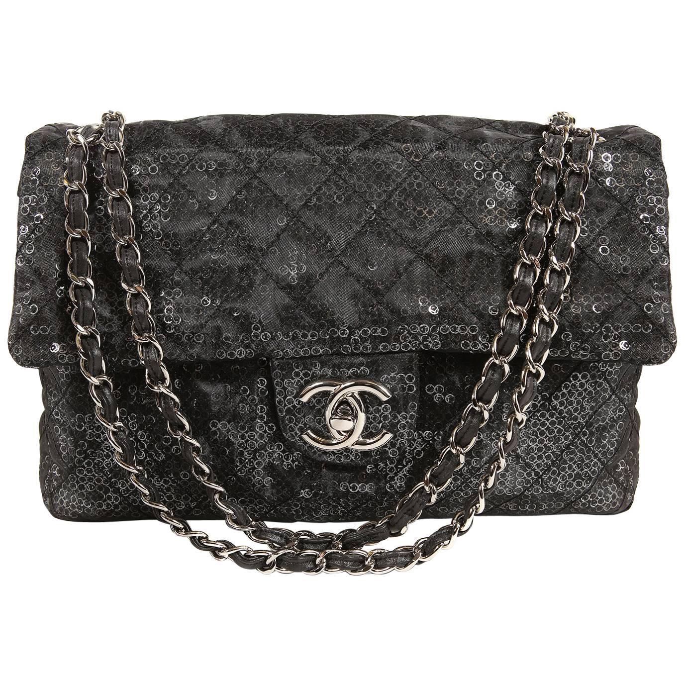 Chanel Hidden Sequins Jumbo Classic Flap Bag