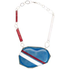 Michel McNabb for Basha Gold Blue Bean Sugar Coat Stripe Enamel Silver Necklace