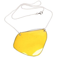 Michel McNabb for Basha Gold Limoncello Enamel Pendant Silver Chain Necklace