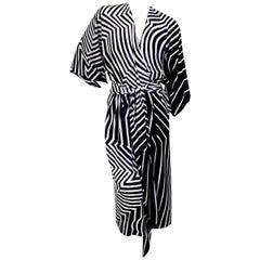 Halston Kimono Wrap Dress in B&W Geometric Print with Matching Belt circa 1970s