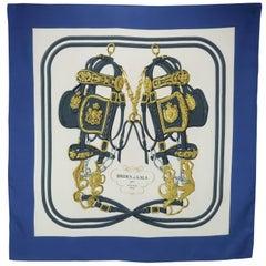 Hermes by Hugo Grygkar Brides de Gala Blue Silk Scarf, 1950s