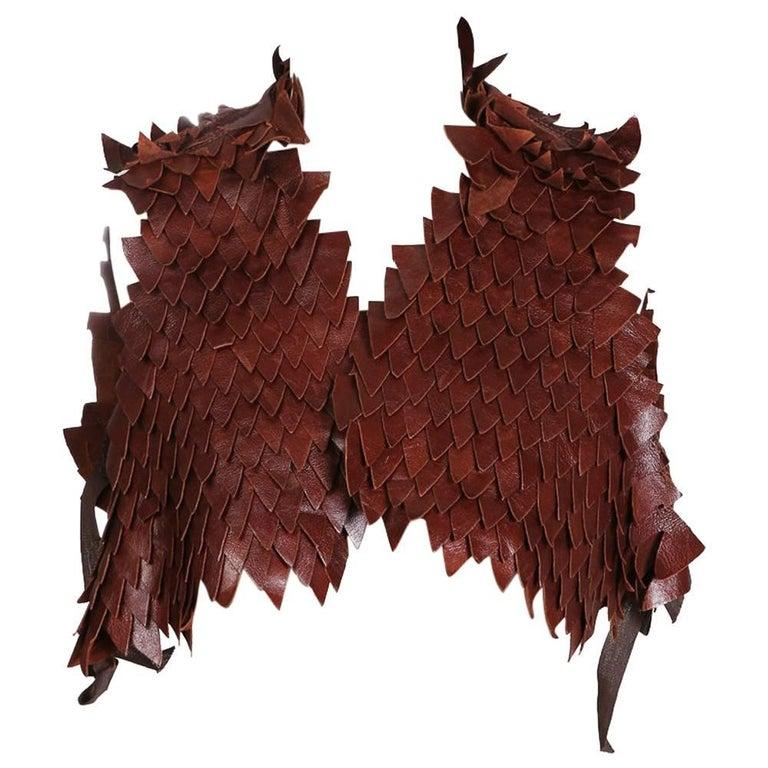 Margiela Brown Leather Reptilian Scales Vest, contemporary
