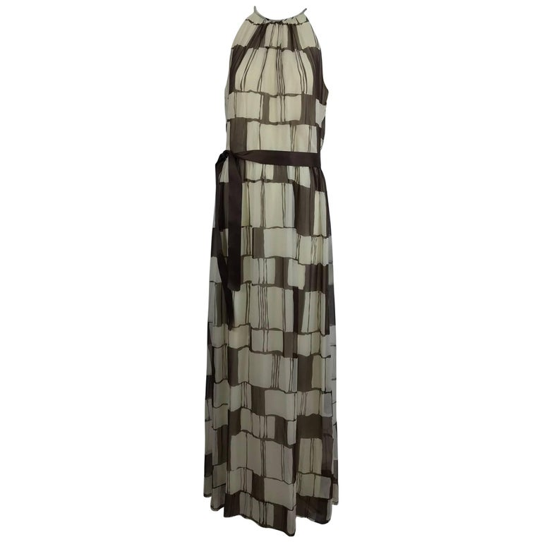 Adele Simpson brown and white silk chiffon halter maxi dress, 1970s For Sale