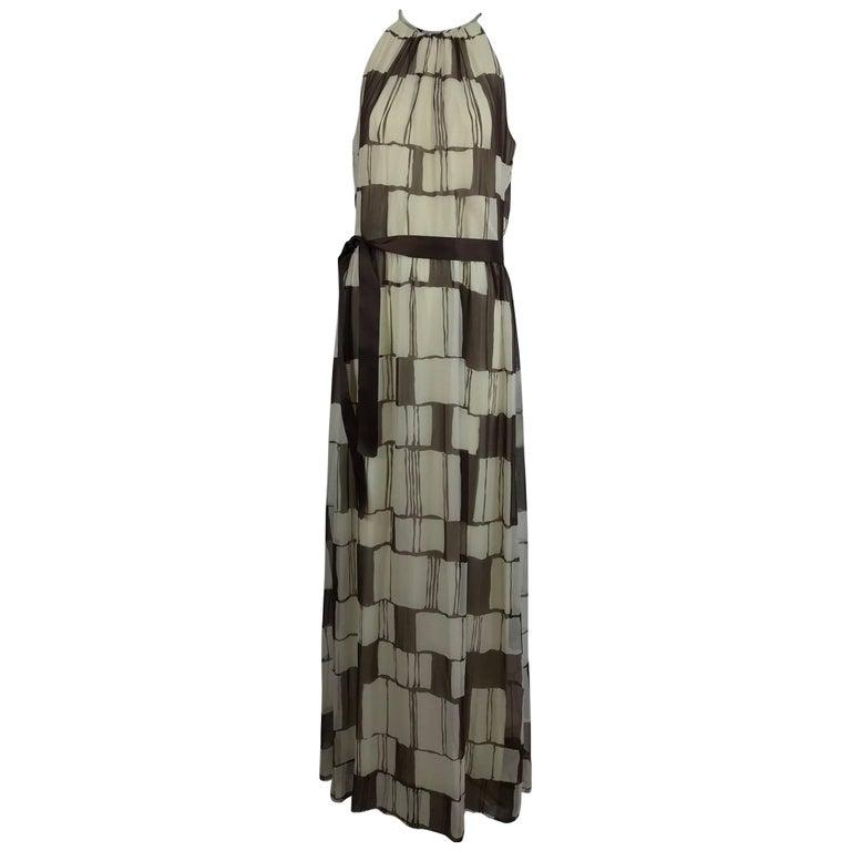 Adele Simpson brown and white silk chiffon halter maxi dress, 1970s