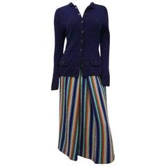 1940s Knit Multicolor Stripe Sweater & Skirt Set