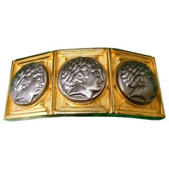 Alexis Kirk Massive Gilt Metal Roman Medallion Belt Buckle circa 1980s
