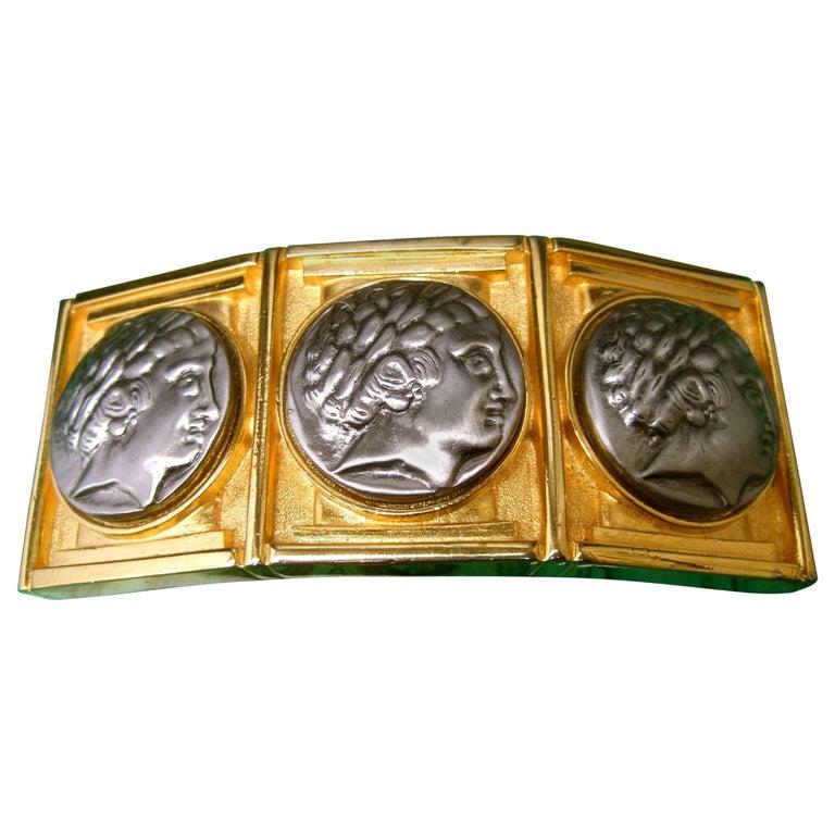 Alexis Kirk Massive Gilt Metal Roman Medallion Belt Buckle circa 1980s
