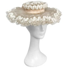 1950s White Lace & Horsehair Hat