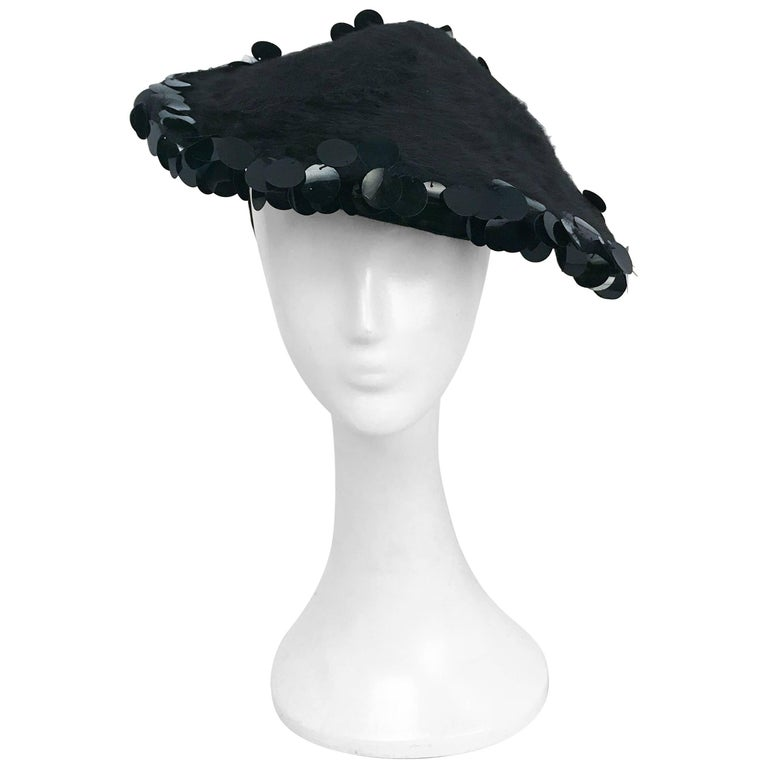 1950s Black Beaver and Sequin Hat