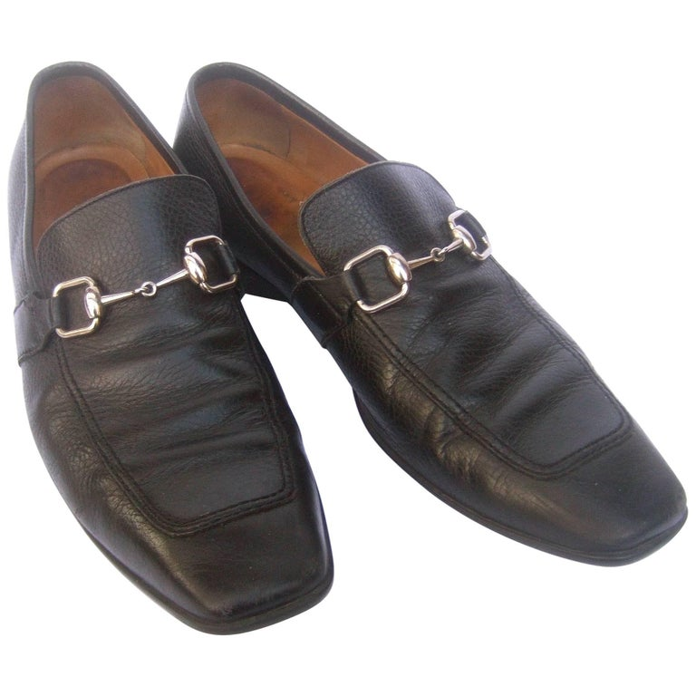 Gucci Men's Black Leather Silver Snaffle Bit Shoes circa 1990s