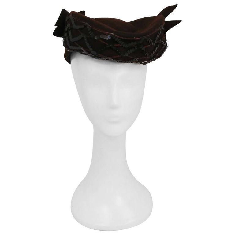 1940s Brown Wool Felt Hat w/ Sequins & Bows