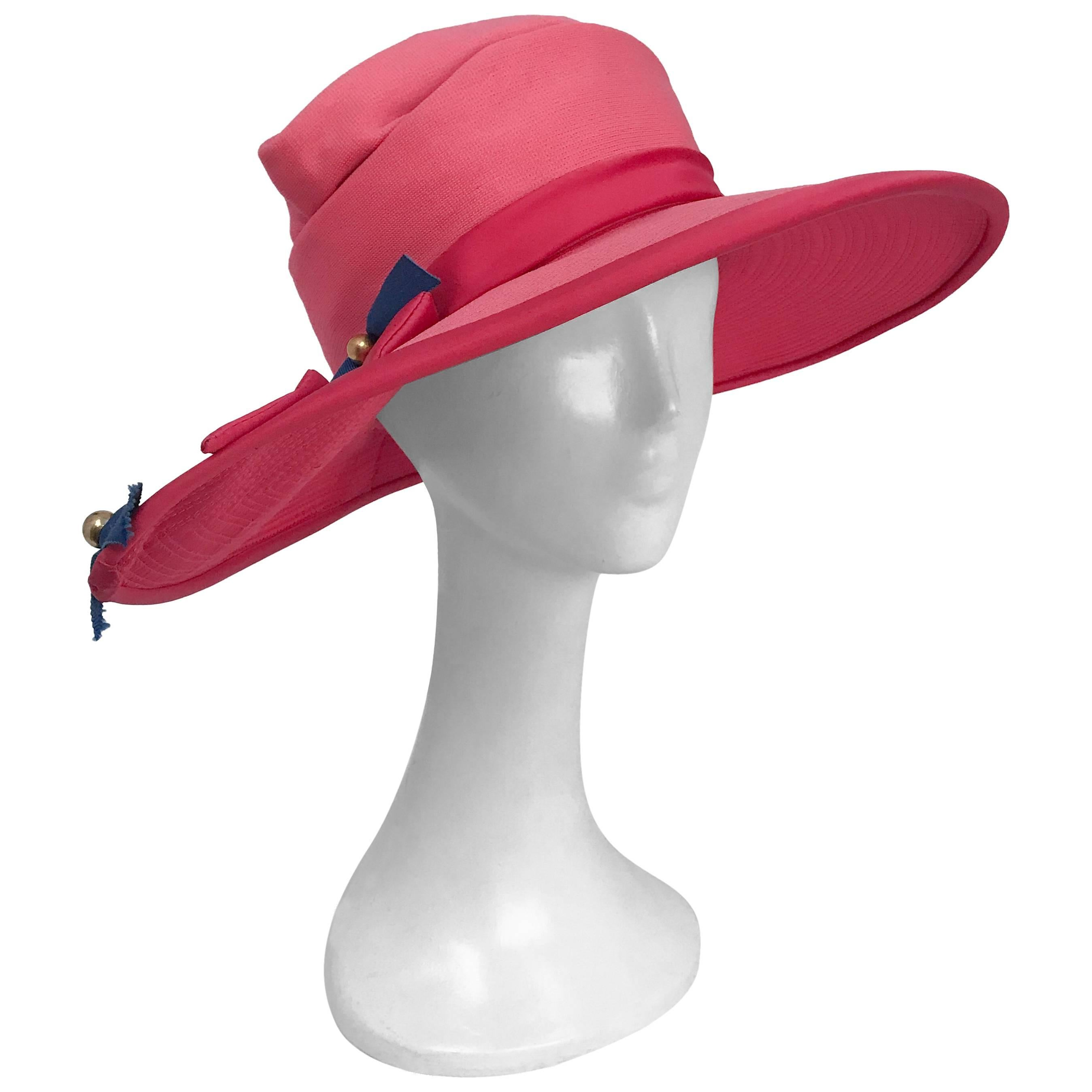 Wide Brim Hat with Pink and Blue Ribbon Bows, 1960s