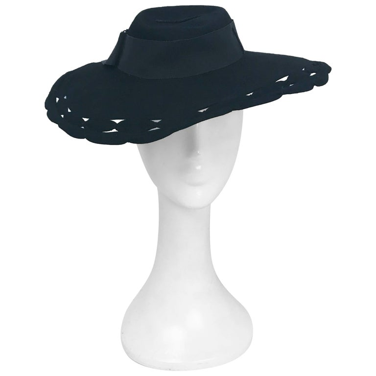 Black Wide Brim Hat with Scalloped Brim and Cutouts, 1930s  For Sale