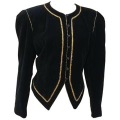 1980s David Butler Black Velveteen Top w/ Gold Trim