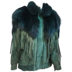 1980s Green Fox Fur Trim Suede Jacket w/ Fringe