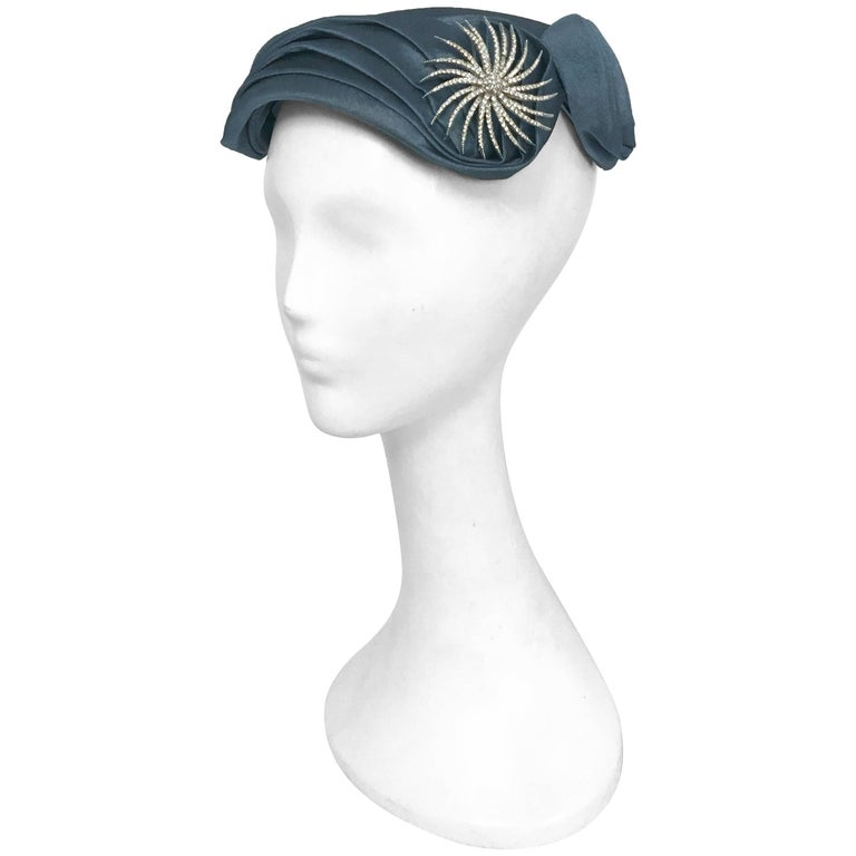 Blue Pleated Cocktail Hat with Starburst Rhinestone Brooch, 1950s