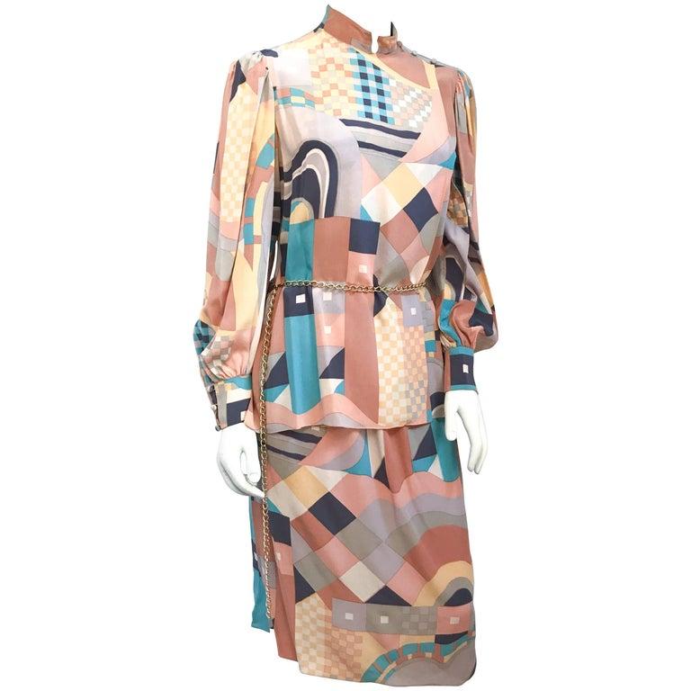 1980s Mary McFadden Orange Geometric Abstract Print Skirt & Top Set