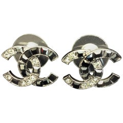 Chanel Black and White Logo Earrings