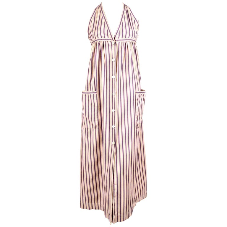 1970's YVES SAINT LAURENT striped cotton dress with patch pockets